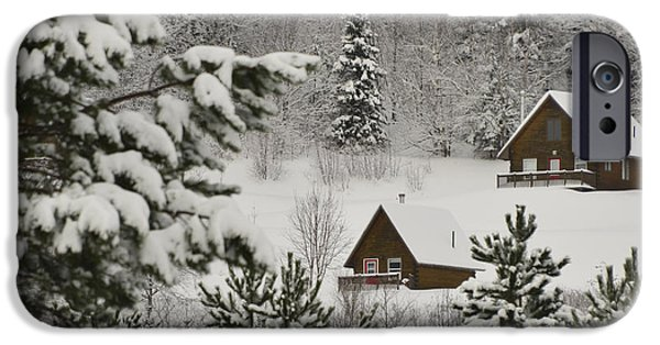 Cabin Window iPhone Cases - Cabin Peace iPhone Case by Wendy Nuttall
