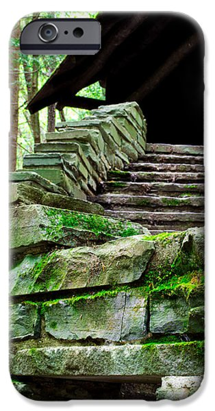 Buttermilk Falls iPhone Cases - Cabin Staircase - Buttermilk Falls iPhone Case by John Baumgartner
