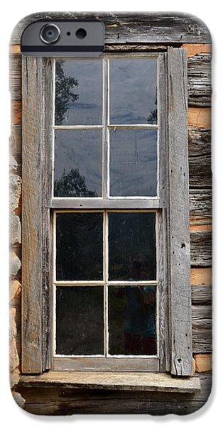 Cabin Window Paintings iPhone Cases - Cabin Window iPhone Case by Ember Canada