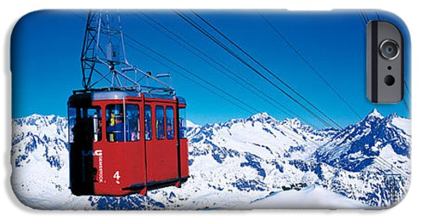 Snowy Day iPhone Cases - Cable Car Andermatt Switzerland iPhone Case by Panoramic Images
