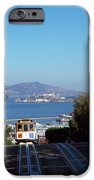 Alcatraz iPhone Cases - Cable Car On Tracks, Alcatraz Island iPhone Case by Panoramic Images