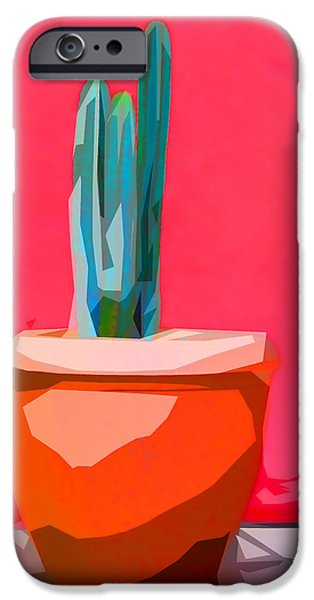 New Mexico Digital iPhone Cases - Cacti in Pot Collage iPhone Case by Carol Leigh