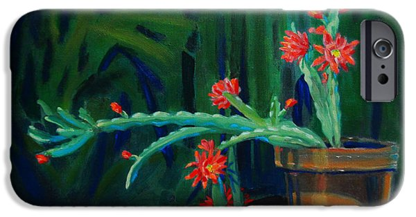 Impressionism Sculptures iPhone Cases - Cactus in Bloom 1 iPhone Case by Dan Redmon