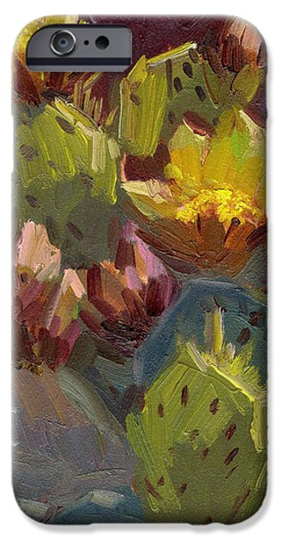 Santa Barbara iPhone Cases - Cactus in Bloom 1 iPhone Case by Diane McClary