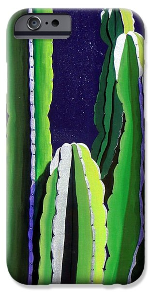 Southwestern iPhone Cases - Cactus in the Desert Moonlight iPhone Case by Karyn Robinson