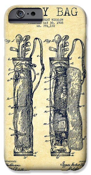Golfer iPhone Cases - Caddy Bag Patent Drawing From 1905 - Vintage iPhone Case by Aged Pixel