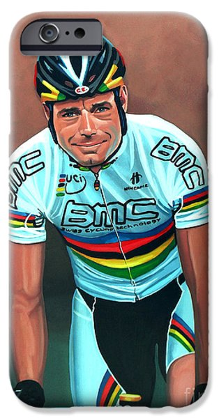 Summer Sports Paintings iPhone Cases - Cadel Evans iPhone Case by Paul Meijering