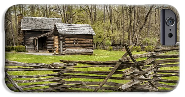 Nineteenth Digital iPhone Cases - Cades Cove cabin iPhone Case by Eduard Moldoveanu