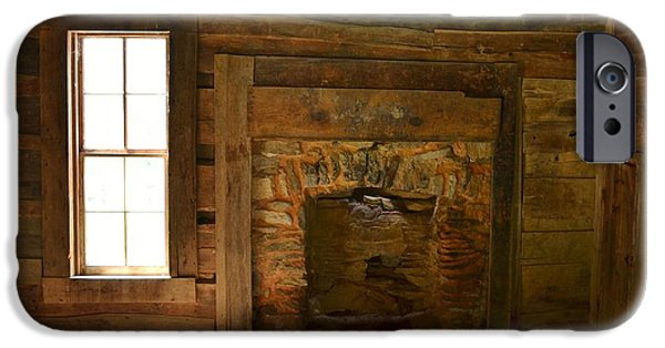Cabin Window iPhone Cases - Cades Cove Cabin Hearth iPhone Case by Ember Canada