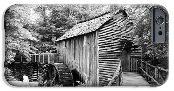 Tennessee Historic Site iPhone Cases - Cades Cove Cable Mill - BW iPhone Case by Cynthia Woods