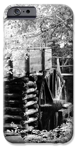 Tennessee Historic Site iPhone Cases - Cades Cove Cable Mill Water Wheel - BW iPhone Case by Cynthia Woods
