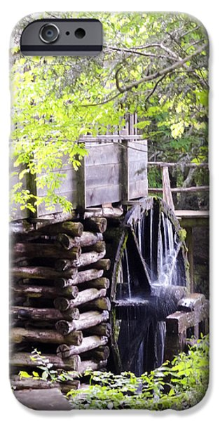 Tennessee Historic Site iPhone Cases - Cades Cove Cable Mill Water Wheel iPhone Case by Cynthia Woods