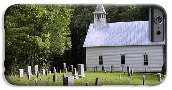 Cemetary iPhone Cases - Cades Cove Chapel 2 iPhone Case by Laurie Perry