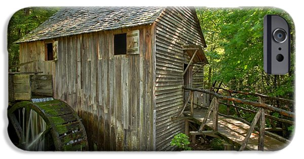 Grist Mill iPhone Cases - Cades Cove Grist Mill Closeup iPhone Case by Adam Jewell
