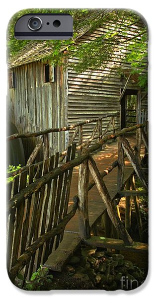 Grist Mill iPhone Cases - Cades Cove Grist Mill Portrait iPhone Case by Adam Jewell