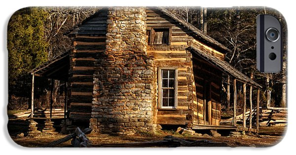 Sun Porch iPhone Cases - Cades Cove Olivers Cabin iPhone Case by Greg and Chrystal Mimbs