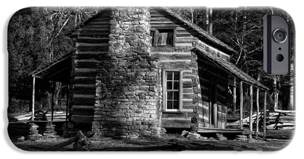 Sun Porch iPhone Cases - Cades Cove Olivers Cabin in Black and White iPhone Case by Greg and Chrystal Mimbs