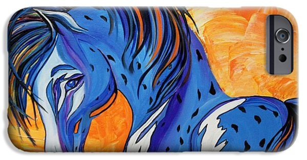 Contemporary Abstract iPhone Cases - CADET the Blue Horse iPhone Case by Janice Rae Pariza