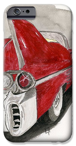 American Cars Drawings iPhone Cases - Cadillac iPhone Case by Eva Ason