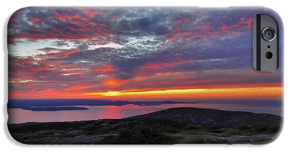 Down East iPhone Cases - Cadillac Mountain Sunrise 2 iPhone Case by Stephen  Vecchiotti