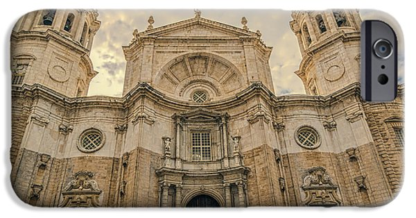 Facade iPhone Cases - Cadiz Cathedral iPhone Case by Maria Coulson