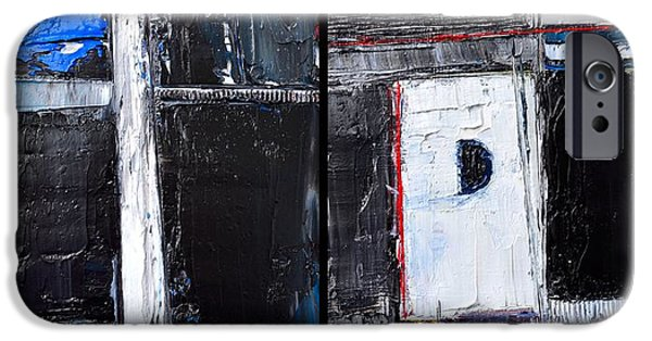 Abstract Expressionism iPhone Cases - CAESURA - ABSTRACT DIPTYCH - abwgc34 iPhone Case by Ana Maria Edulescu
