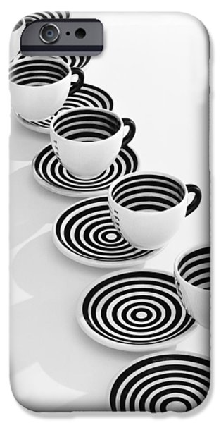 Stripes iPhone Cases - One More Cup of Coffee Please iPhone Case by Daniel Furon