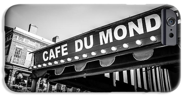 Louisiana Photographs iPhone Cases - Cafe Du Monde Black and White Picture iPhone Case by Paul Velgos