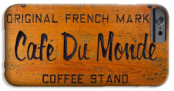 Nobody Photographs iPhone Cases - Cafe Du Monde Sign in New Orleans Louisiana iPhone Case by Paul Velgos