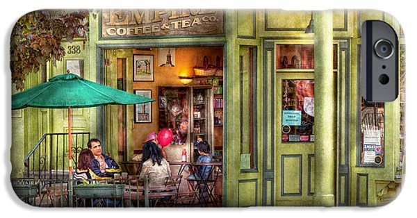 Store Fronts iPhone Cases - Cafe - Hoboken NJ - Empire Coffee and Tea iPhone Case by Mike Savad