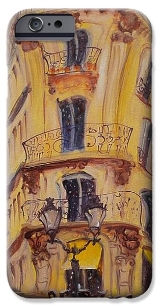 Exterior iPhone Cases - Cafe Le Palmier, 2010 Oil On Canvas iPhone Case by Antonia Myatt