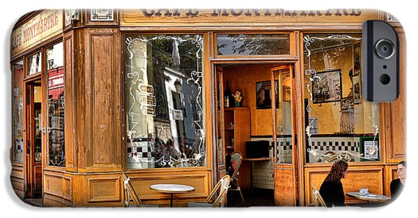Shop Window iPhone Cases - Cafe Montmartre iPhone Case by Olivier Le Queinec