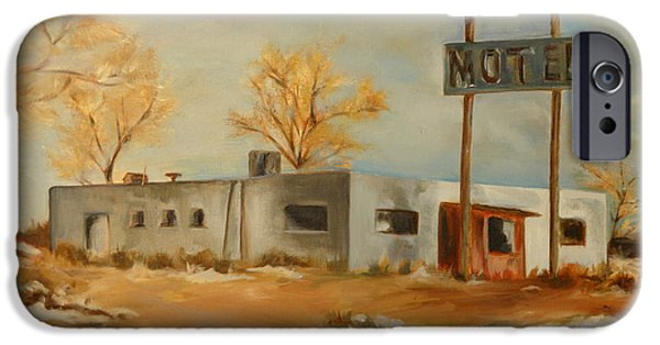 Desert Scape iPhone Cases - Cafe Motel iPhone Case by Lindsay Frost