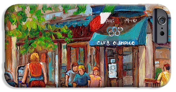 Best Sellers -  - French Open iPhone Cases - Cafe Olimpico-124 Rue St. Viateur-montreal Paintings-sports Bar-restaurant-montreal City Scenes iPhone Case by Carole Spandau