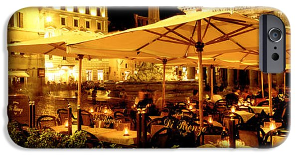 Gathering Photographs iPhone Cases - Cafe, Pantheon, Rome Italy iPhone Case by Panoramic Images