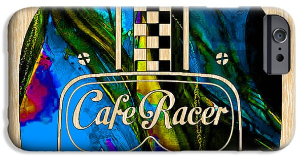Motorcycle iPhone Cases - Cafe Racer Motorcycle Helmet iPhone Case by Marvin Blaine