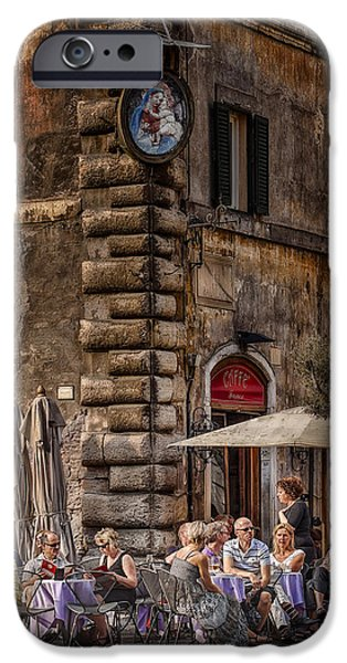 Table Wine iPhone Cases - Cafe Roma iPhone Case by Erik Brede