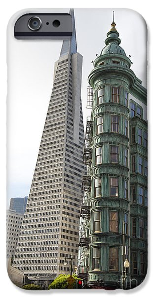 Francis Ford Coppola iPhone Cases - Cafe Zoetrope and Transamerica Bldg iPhone Case by David Bearden