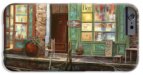 Night Lamp iPhone Cases - caffe Carlotta iPhone Case by Guido Borelli