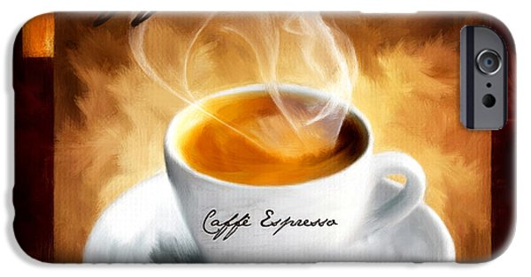 Decorative Digital Art iPhone Cases - Caffe Espresso iPhone Case by Lourry Legarde