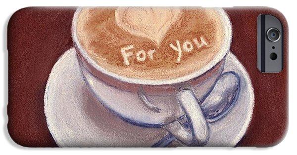 Still Life Pastels iPhone Cases - Caffe Latte iPhone Case by Anastasiya Malakhova