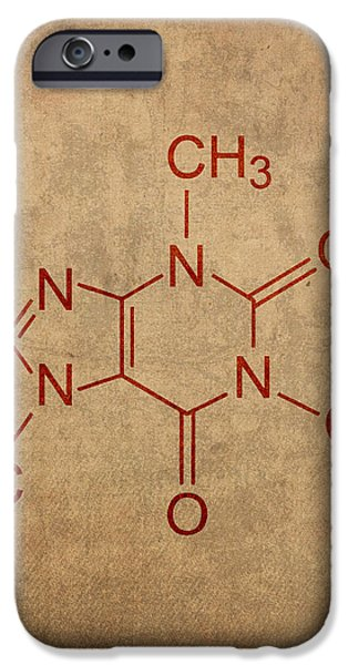Fanatic iPhone Cases - Caffeine Molecule Coffee Fanatic Humor Art Poster iPhone Case by Design Turnpike