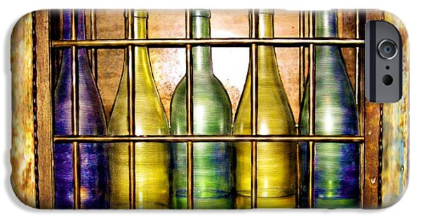 Wine Bottles iPhone Cases - Caged Spirits iPhone Case by Ric Darrell