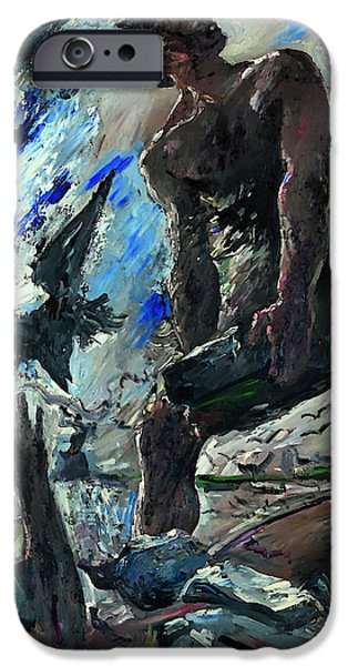 Christian work Paintings iPhone Cases - Cain iPhone Case by Lovis Corinth