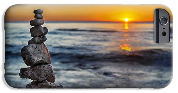 Monolith iPhone Cases - Cairn at Sunrise iPhone Case by Scott Norris