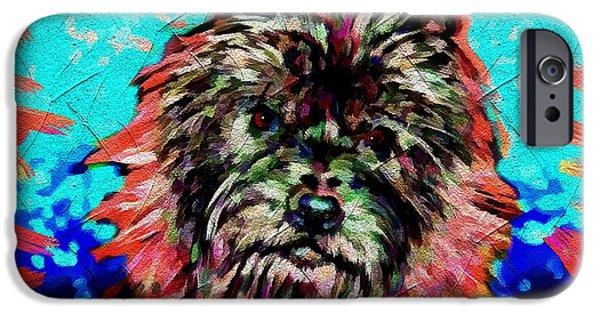 Dog Close-up Digital Art iPhone Cases - Cairn Terrier iPhone Case by Daniel Janda