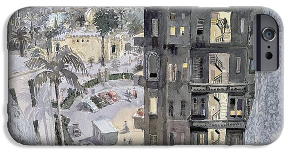 Egyptian iPhone Cases - Cairo Night, 1996 Wc On Paper iPhone Case by Lucy Willis