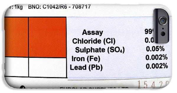 Calcium Carbonate iPhone Cases - Calcium Carbonate Label iPhone Case by Martyn F. Chillmaid