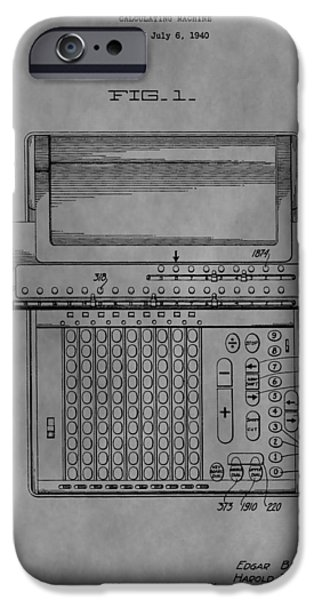 Technology Drawings iPhone Cases - Calculating Machine iPhone Case by Dan Sproul