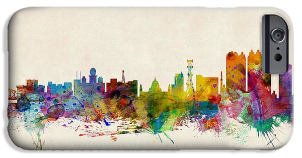 India iPhone Cases - Calcutta India Skyline iPhone Case by Michael Tompsett